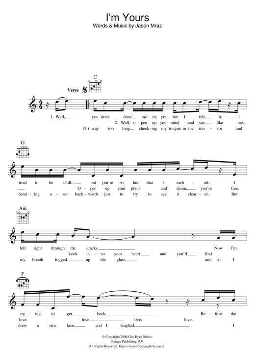 Jason Mraz Im Yours Sheet Music Notes Chords Printable