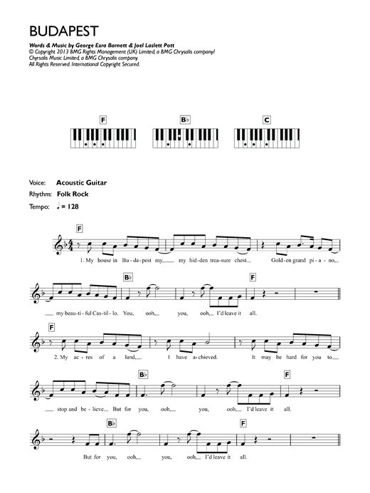 George Ezra Budapest Sheet Music Notes Chords Printable Pop