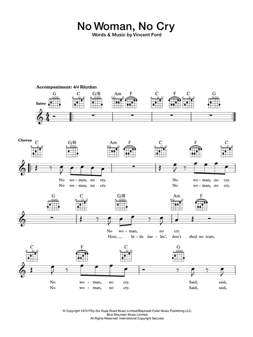 Bob Marley No Woman No Cry Sheet Music Notes Chords Printable