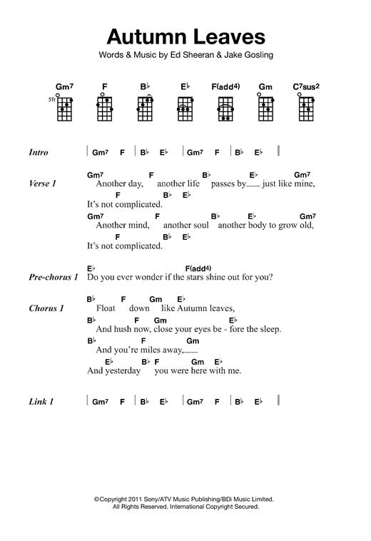 Ed Sheeran Autumn Leaves Sheet Music Notes Chords Printable Pop