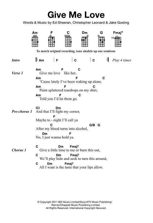 Ed Sheeran Give Me Love Sheet Music Notes Chords Printable Pop