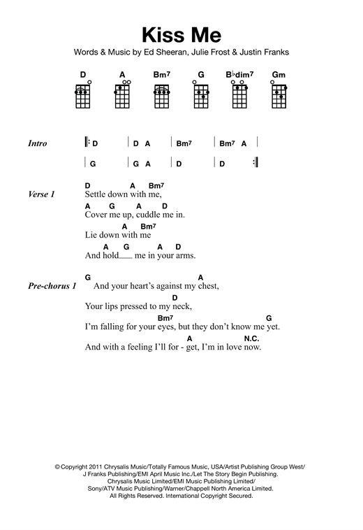 Ed Sheeran Kiss Me Sheet Music Notes Chords Printable Pop