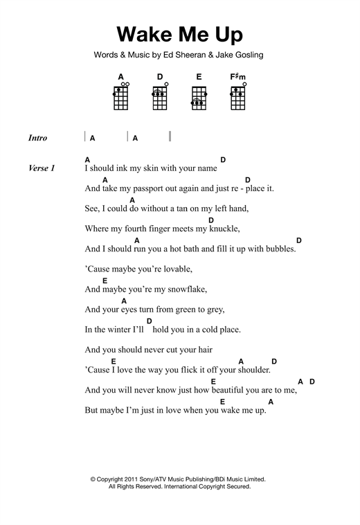 Ed Sheeran Wake Me Up Sheet Music Notes Chords Printable Pop