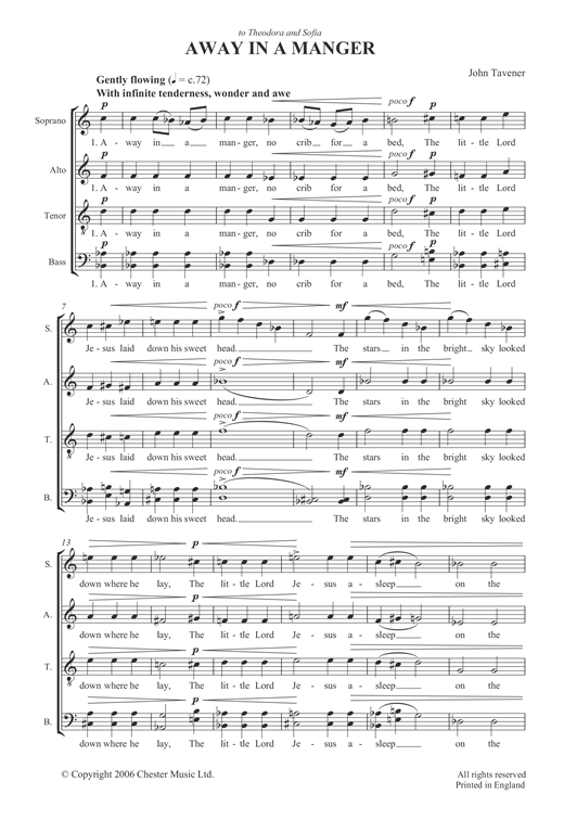 picture about Lyrics to Away in a Manger Printable identified as John Tavener Absent Within just A Manger Sheet Tunes Notes, Chords Down load Printable SATB - SKU: 121965
