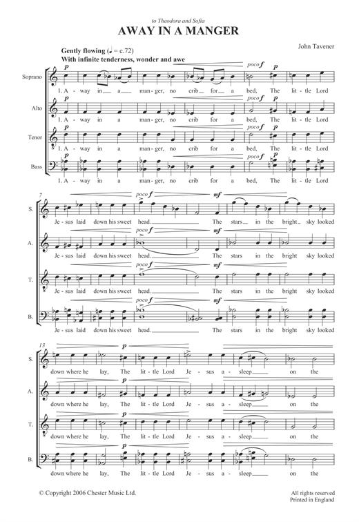 graphic regarding Lyrics to Away in a Manger Printable named John Tavener Absent Within A Manger Sheet Tunes Notes, Chords Obtain Printable SATB - SKU: 121965