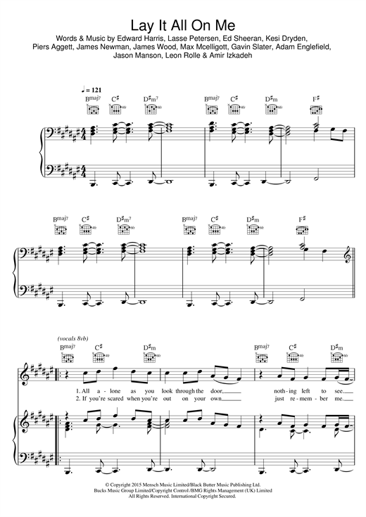 Rudimental Lay It All On Me Feat Ed Sheeran Sheet Music Notes