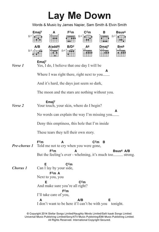 Sam Smith Lay Me Down Sheet Music Notes Chords Printable Pop