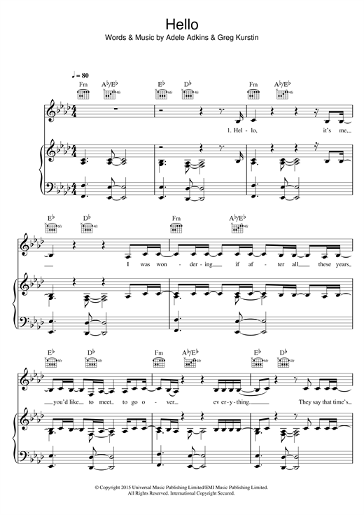 Adele Hello sheet music notes and chords
