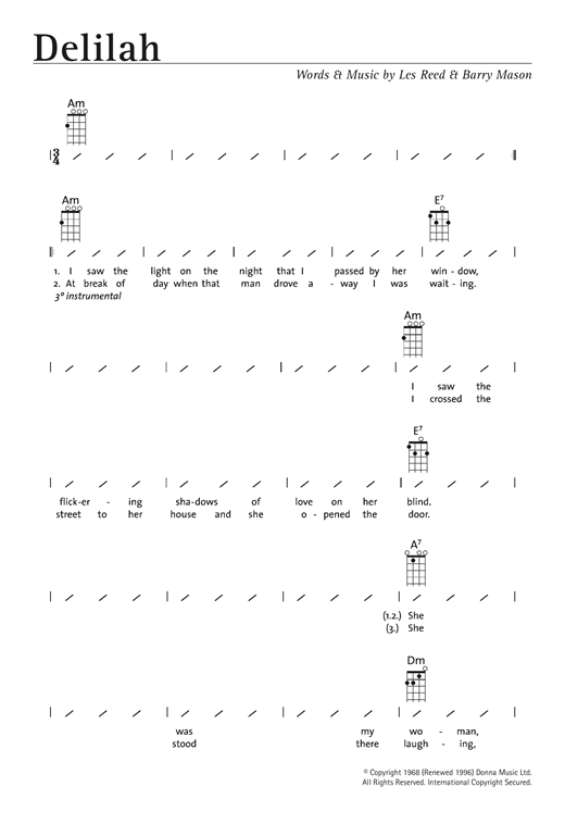 Tom Jones Delilah Sheet Music Notes Chords Printable Classics