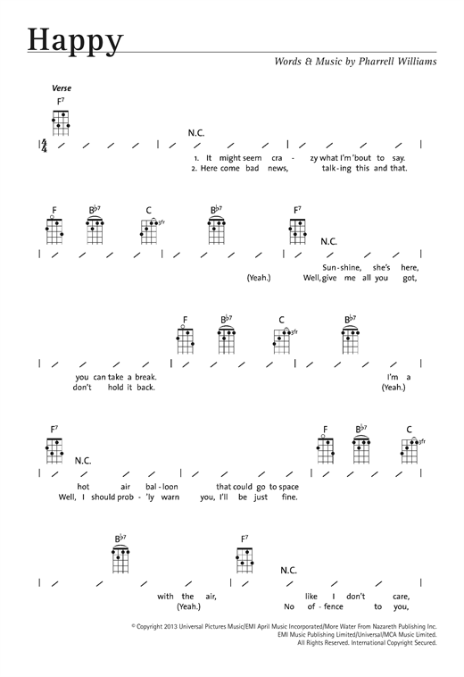 Pharrell Williams Happy Sheet Music Notes Chords Printable Pop