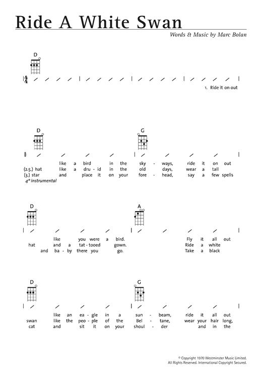 T  Rex 'Ride A White Swan' Sheet Music Notes, Chords | Download Printable  Ukulele with strumming patterns - SKU: 122348