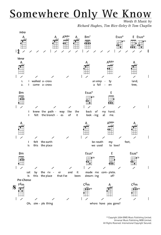 Keane Somewhere Only We Know Sheet Music Notes Chords Printable
