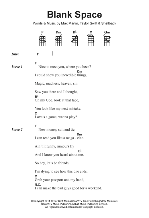 taylor swift  u0026quot blank space u0026quot  sheet music notes  chords