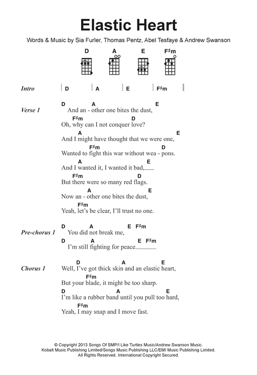 Sia Elastic Heart Sheet Music Notes Chords Printable Pop