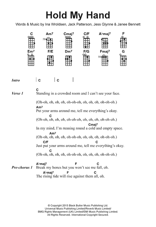 Jess Glynne Hold My Hand Sheet Music Notes Chords Printable Pop