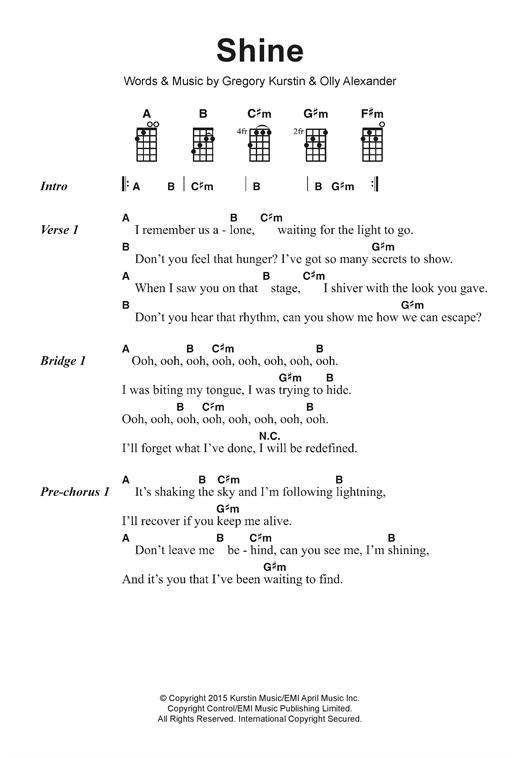 Years Years Shine Sheet Music Notes Chords Printable Pop