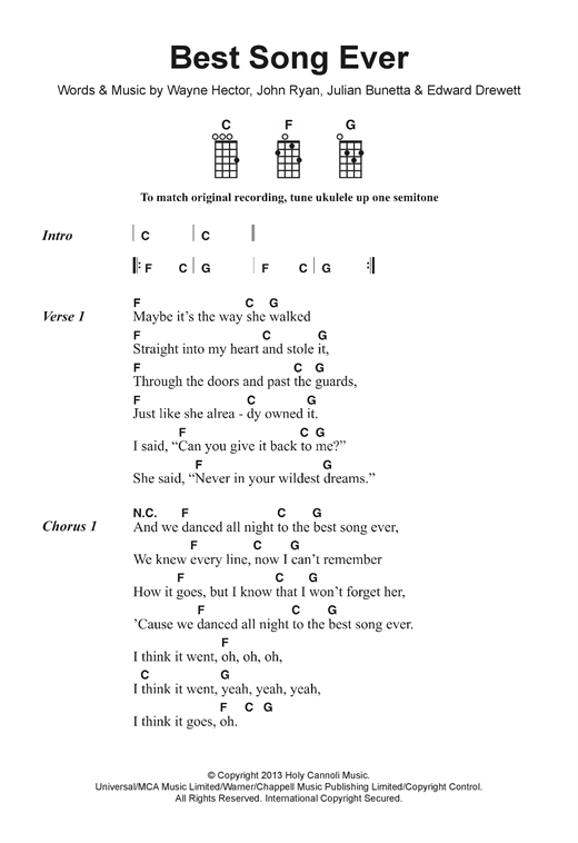 One Direction Best Song Ever Sheet Music Notes Chords Printable