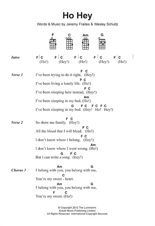 The Lumineers Ho Hey Sheet Music Notes Chords Printable Pop