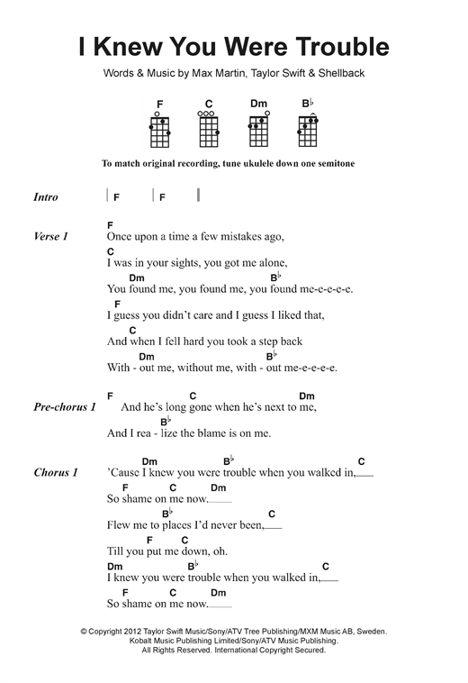 Taylor Swift I Knew You Were Trouble Sheet Music Notes Chords