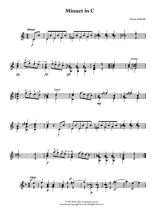 Anton Diabelli Minuet In C Sheet Music Notes Chords Printable