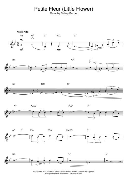 Sidney Bechet Petite Fleur Little Flower Sheet Music Notes