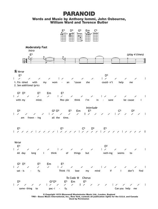 Black Sabbath Paranoid Sheet Music Notes Chords Printable