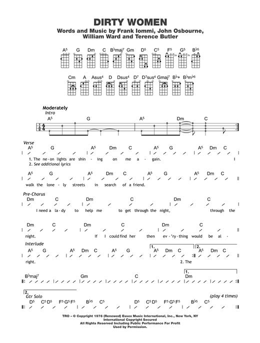 Black Sabbath Dirty Women Sheet Music Notes Chords Printable