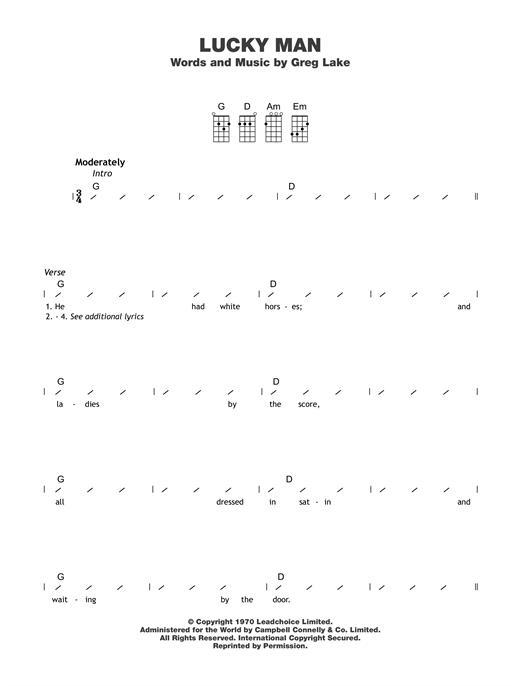 Emerson Lake Palmer Lucky Man Sheet Music Notes Chords