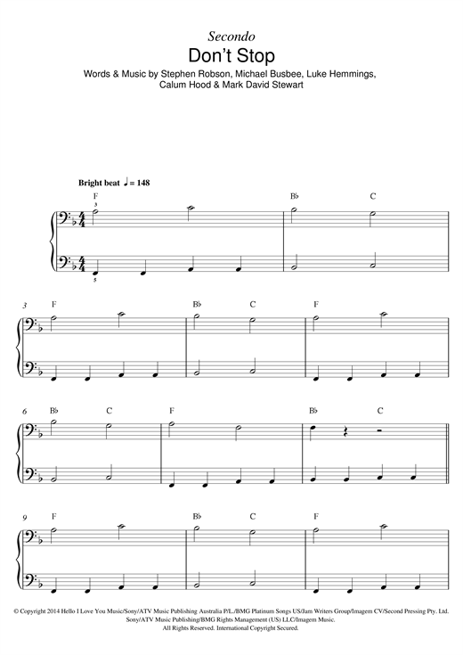 5 Seconds Of Summer Dont Stop Sheet Music Notes Chords