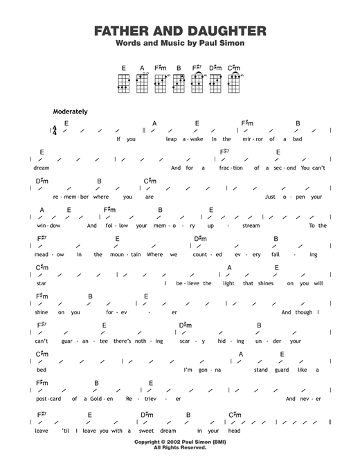 Paul Simon Father And Daughter Sheet Music Notes Chords