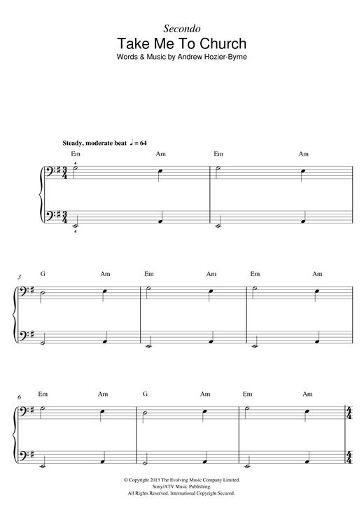 Hozier Take Me To Church Sheet Music Notes Chords Printable Pop