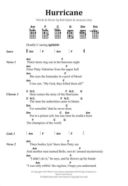 Bob Dylan Hurricane Sheet Music Notes Chords Printable Pop