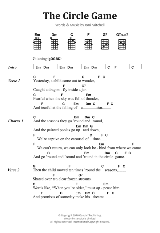 Joni Mitchell The Circle Game Sheet Music Notes Chords