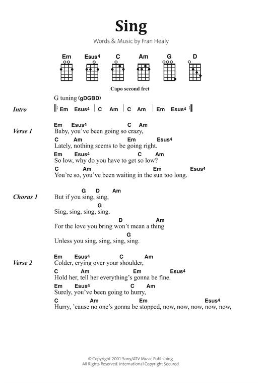 Travis Sing Sheet Music Notes Chords Printable Rock Banjo