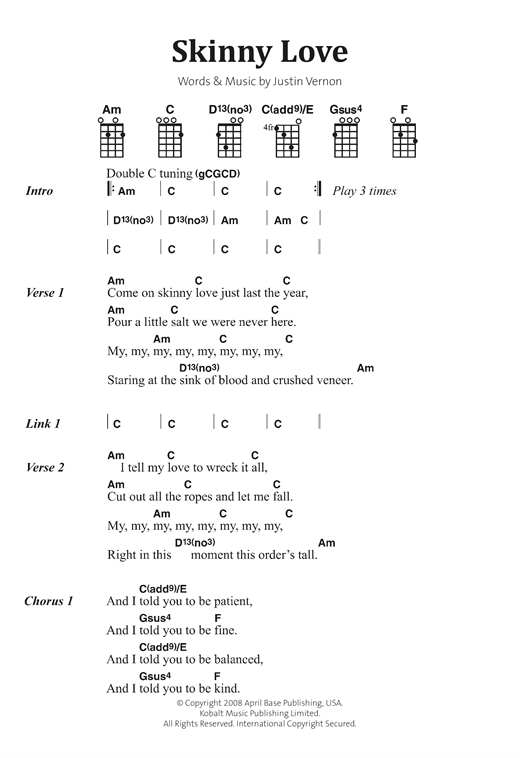 Bon Iver Skinny Love Sheet Music Notes Chords Printable Indie