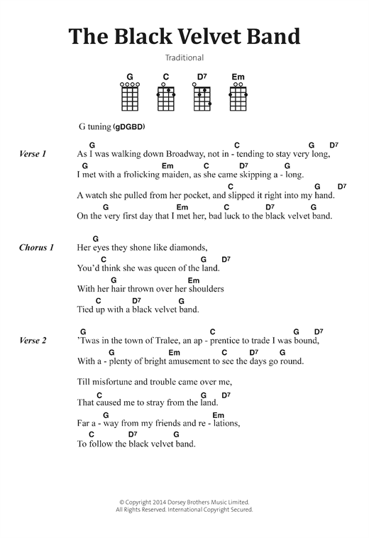 Irish Folksong The Black Velvet Band Sheet Music Notes Chords