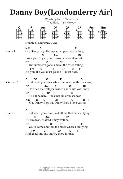 Irish Folksong Danny Boy Londonderry Air Sheet Music Notes