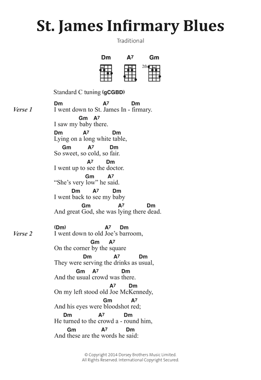 Traditional St James Infirmary Blues Sheet Music Notes Chords