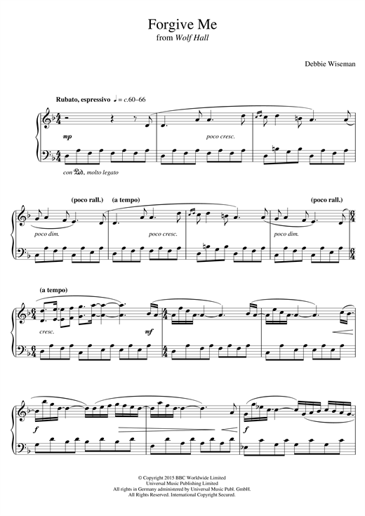 Debbie Wiseman Forgive Me From Wolf Hall Sheet Music Notes