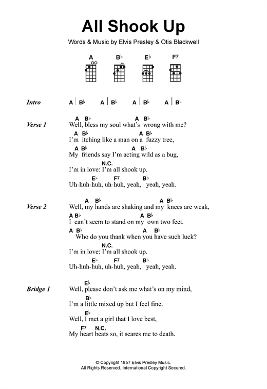 Elvis Presley All Shook Up Sheet Music Notes Chords Printable