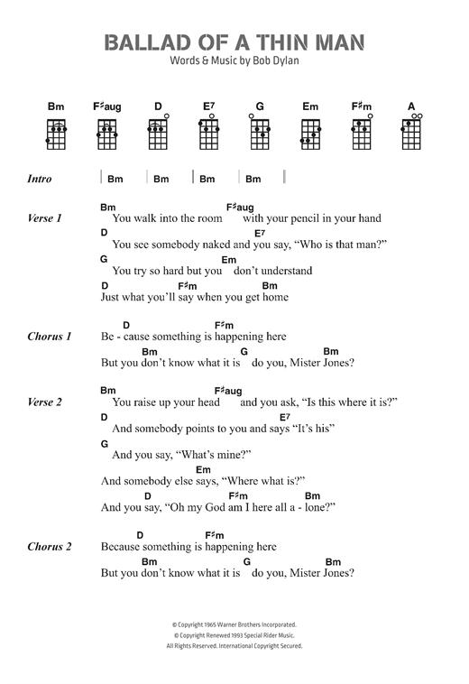 Bob Dylan Ballad Of A Thin Man Sheet Music Notes Chords