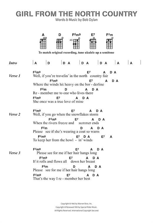 Bob Dylan Girl From The North Country Sheet Music Notes Chords