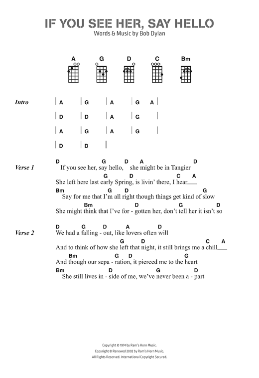 Bob Dylan If You See Her Say Hello Sheet Music Notes Chords