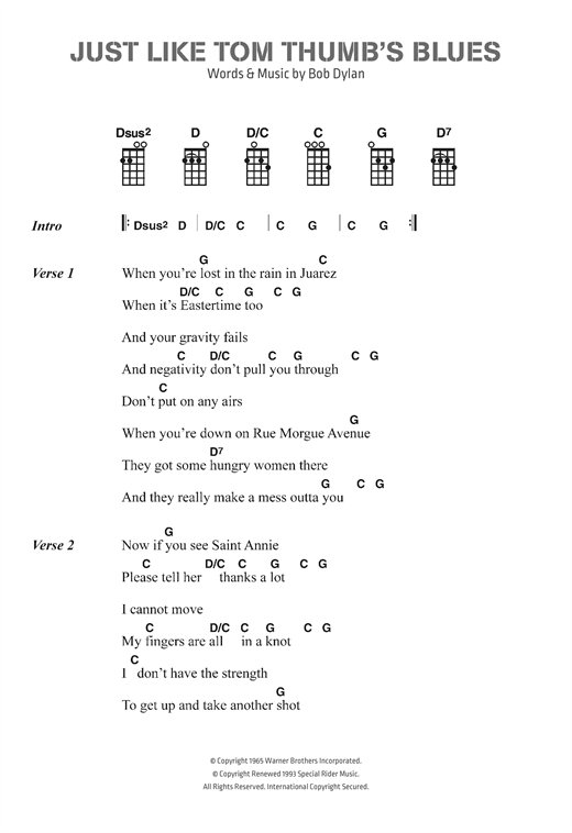 Bob Dylan Just Like Tom Thumbs Blues Sheet Music Notes Chords