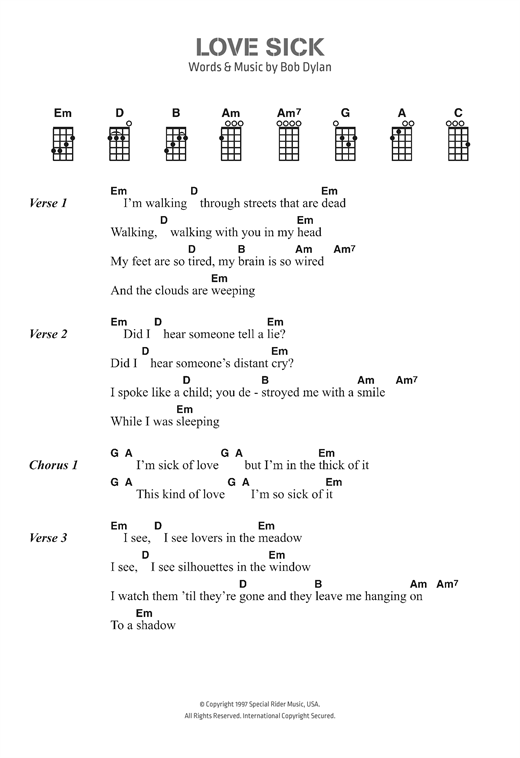 Bob Dylan Love Sick Sheet Music Notes Chords Printable Pop