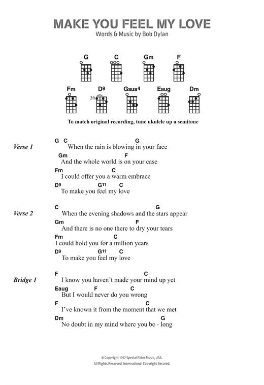 Bob Dylan Make You Feel My Love Sheet Music Notes Chords