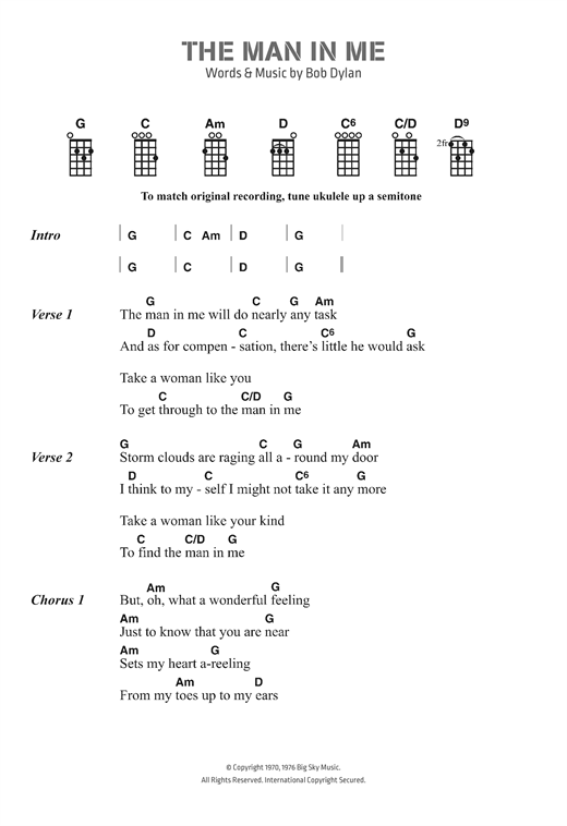 Bob Dylan The Man In Me Sheet Music Notes Chords Printable Pop