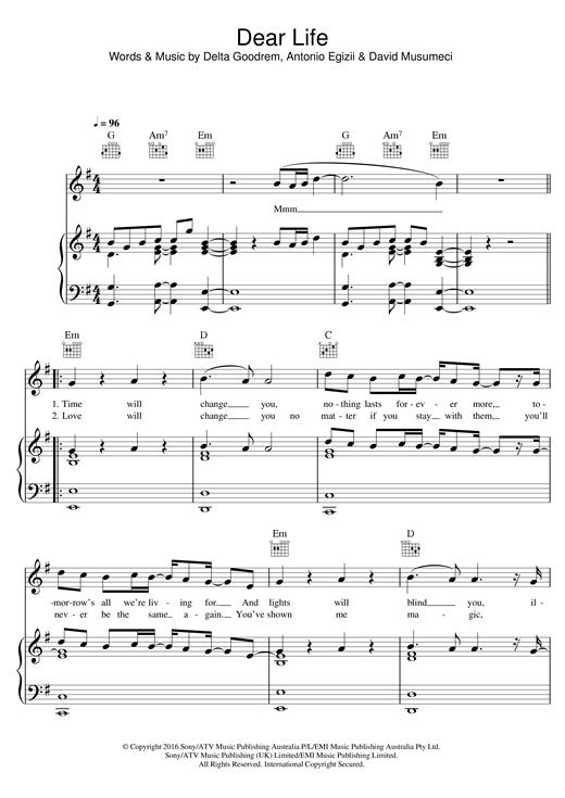 Delta Goodrem Dear Life Sheet Music Notes Chords Printable Pop