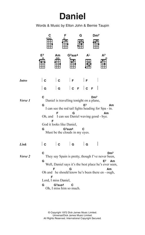 Elton John Daniel Sheet Music Notes Chords Printable Pop