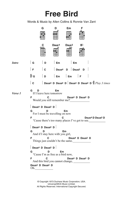 Lynyrd Skynyrd Free Bird Sheet Music Notes Chords Printable